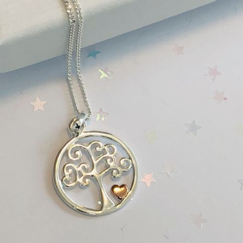 Silver tree of life with heart necklace